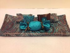 BROWN & TEAL BROCADE DOUBLE BEDDING SET FOR BARBIE, MONSTER HIGH, OR BRATZ DOLLS