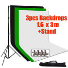 Photography Studio Black White Green Backdrops Screen Background Support Stand