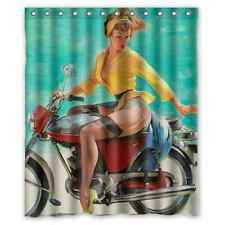 Hot Vintage Poster Pin Up Girl Riding Motorcycle Shower Curtain 60x72