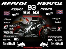 2015 Moto GP Repsol Test bike Marquez Decal Graphics Stickers Kit