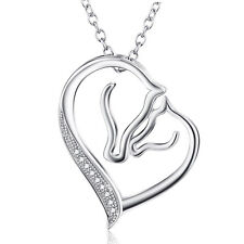 "925 Sterling Silver Horse Head Pendant ""Mom and Kids"" White CZ Heart Necklace"