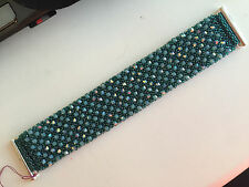 Beaded Cuff Bracelet w/Swarovski Crystals - Blue