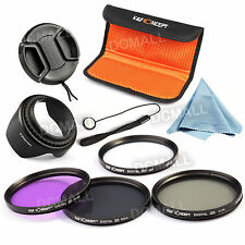55mm UV FLD CPL ND4 Filter Kit For Sony Alpha A77 A230 A380 A330 18-55 Lens Hood