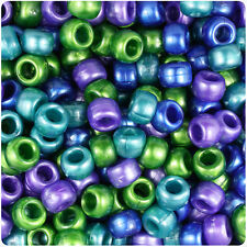 500 Cool Mix Pearl 9mm Barrel Plastic Pony Beads Made in the USA