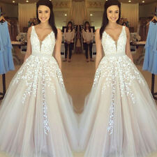New White V Neck Tulle Wedding Dress Lace Appliques Sweep Train Bridal Gown 2016