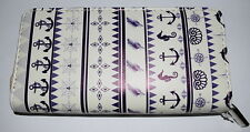 New Navy Nautical Print Wallet Zip-Around Faux Leather Trendy Anchors Seahorse