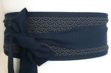 Indigo Blue Seigiha Sashiko style traditional fabric OBI belt Japan kimono sash