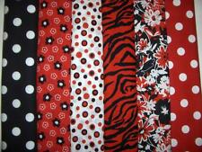 12 FQs Flowers Zebra Stripes Dots Red Black Cotton Quilt Fabric Fat Quarters