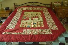 """Christmas Reindeer Panel Quilt #90, Red Green & Beige on Red, 60"""" x 80"""" Handmade"""
