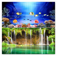 """23.5"""" x 60"""" Double Sided Fish Tank Aquarium Background Color Fish / Waterfal"""
