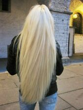 Full white platinum  blonde straight hair. lace front wig.human hair blend.