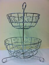 KITCHEN DINNING 2 TIER CHROME FINISH VEGETABLE FRUIT STORAGE BASKET RACK