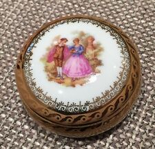 Limoges La Reine Gold and White Trinket Box VGC