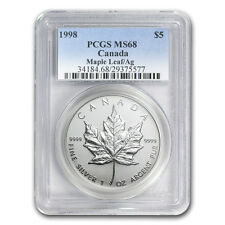 1998 1 oz Silver Canadian Maple Leaf Coin - MS-68 PCGS - SKU #81819