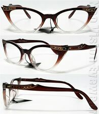 Rhinestone Cat Eye Glasses 50s Pinup Vintage Style Brown Clear K17B CL