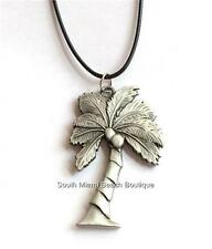 Silver Coconut Palm Tree Necklace Pendant Chunky Pewter Black Cord USA Seller