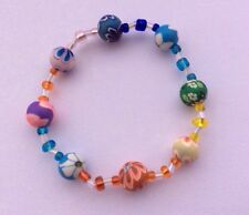 NEW Pretty Girls Bracelet Stretch Handmade Polymer Clay Millefiori Flowers Bead