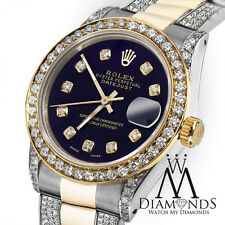 Ladies 26mm Rolex Oyster Perpetual Datejust Custom Purple Diamonds Dial