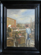 MARK OSMAN CURTIS 1879-1959 ORIGINAL SIGNED OIL PAINTING 'DANISH FISH MARKET'