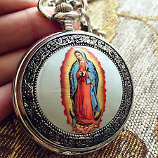 *Beautiful Our Lady Of Guadalupe Pocket Quartz watch Medal Christian Roman