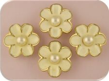 Beads Flowers Ivory Enamel Ruffle Petals Faux Pearl Centers 2 Hole Sliders QTY 4