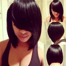 100% Real Hair! Charming Silky Short Straight Trendy Black Inclined Bang Wig