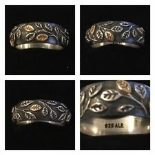 PANDORA SILVER AN 14CT TREE OF LIFE RING SIZE 56 REF 190140 DISCONTINUED