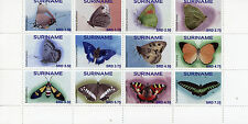 Suriname 2016 MNH Butterflies 12v Set Block Insects Butterfly