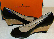 Arturo Chiang Shoes Black Patent Leather Cork Wedge Peep Toe 9.5M Felicity NIB