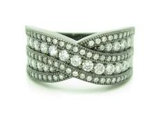 """BLACK GOLD STERLING SILVER DIAMOND SET PAVE WHITE SAPPHIRE """"X"""" BAND RING GIFT"""