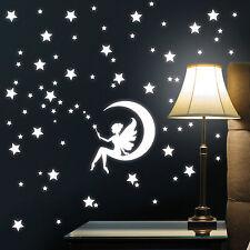 """10926 Wandtattoo """"Fee Mond mit Sternen"""" leuchtend fluoreszierend Sternenhimmel"""