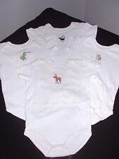 Gymboree - 4 short sleeve white onesies, sz 12 to 18 months, horse, dino,dog,cat