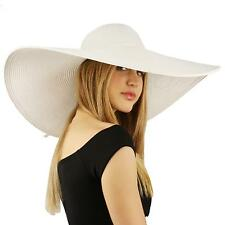 "Summer Elegant Derby Big Super Wide Brim 8"" Brim Floppy Sun Beach Pool Hat White"