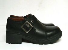 Harley Davidson Sarah Clogs Shoes Black Leather Buckle Women's 6 Lug Sole  83219