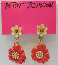 Betsey Johnson Garden Party Coral , White & Yellow Flower Post Earrings