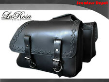LaRosa Black Leather Laced Harley Sportster Throwover Left & Right Saddlebags