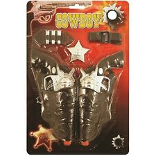 Toy Wild West Cowboy Fancy Dress Gun Set Revolver Holsters Badge Belt New H