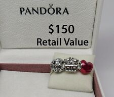 New w/Hinged Box Set of 3 Pandora Valentine's Day Cat Theme Charms Purrfect