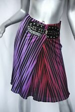 GUCCI Sexy Fuchsia+Red+Black Jersey Skirt+SNAKESKIN Studded Attached-Belt S/38