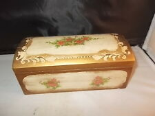 VINTAGE  HINGED WOOD MUSIC BOX JEWELRY BOX HAND PAINTED PLAYS A BALLET TUNE