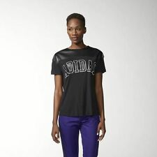 New Women's Adidas NY Faux Leather T-Shirt Size: Small Color: Black