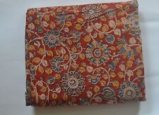 Cotton kalamkari block print fabric - 100 cms length by 43 inches floral motifs