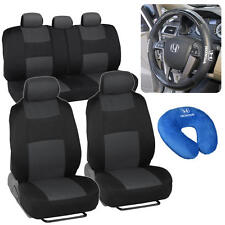 Seat Covers Neck Pillow Synth Leather Steering Wheel Cover for Honda Civic 92-01