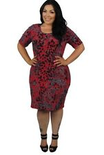 NWT 22-24 Chic Derek Heart Red Black Grey print bodycon city dress plus size