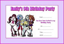 PERSONALISED MONSTER HIGH PARTY INVITATIONS x 10