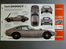"1967 - 1970 Toyota 2000 GT Coupe IMP ""Hot Cars"" Spec Sheet Folder Brochure 5-16"
