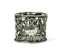Antique Edwardian Sterling Silver Napkin Ring Cherubs Pierced Birmingham 1901