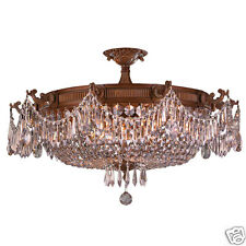 """Winchester 10 Light French Gold Crystal Semi Flush Ceiling Light 30"""" x 18"""" LARGE"""