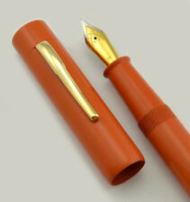 Ranga 3 Flat Top Fountain Pen - Orange Ebonite, JoWo Nibs Cartridge/Converter