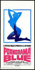 PORNORAMA BLUE LOCANDINA CINEMA FILM EROTICO PLAYBOY 1974 MOVIE PLAYBILL POSTER